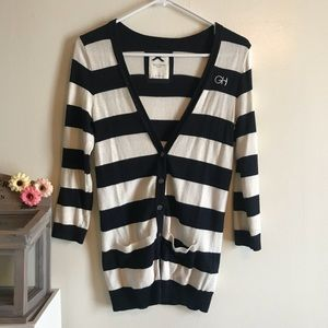 Gilly Hicks Navy Nautical Striped Long Cardigan